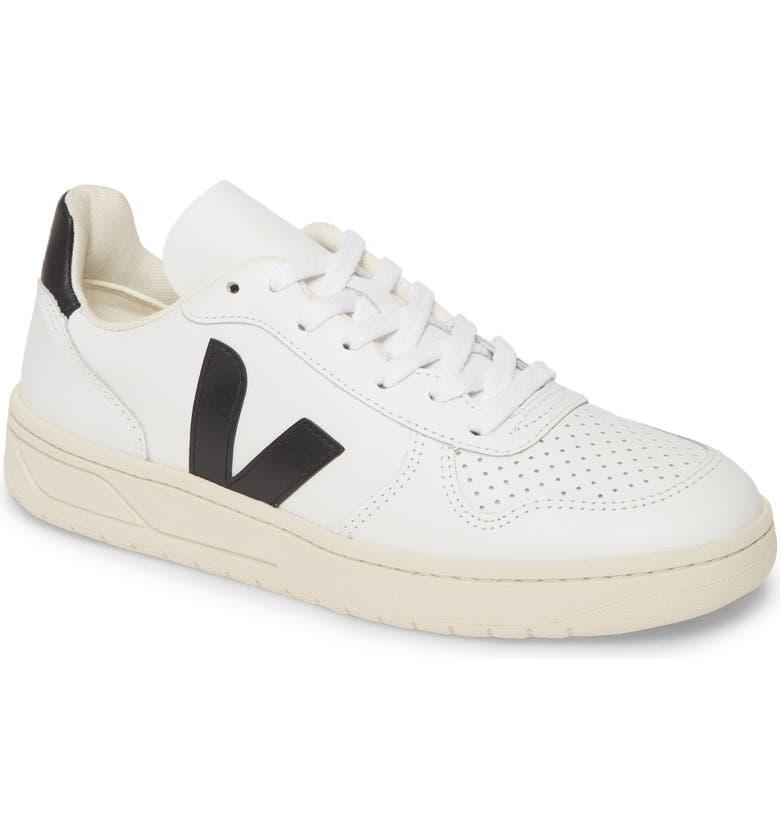 VEJA V-10 Sneaker, Main, color, EXTRA WHITE/ BLACK LEATHER