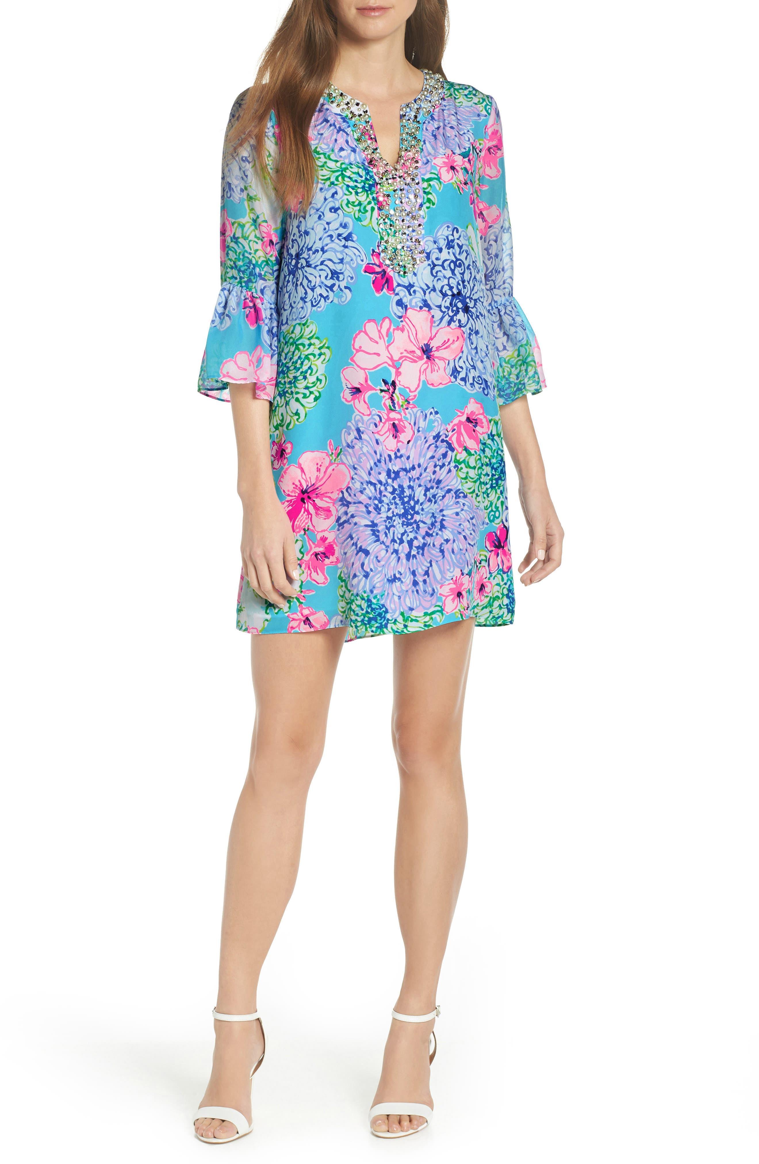 Lilly Pulitzer Elenora Floral Embellished Silk Dress