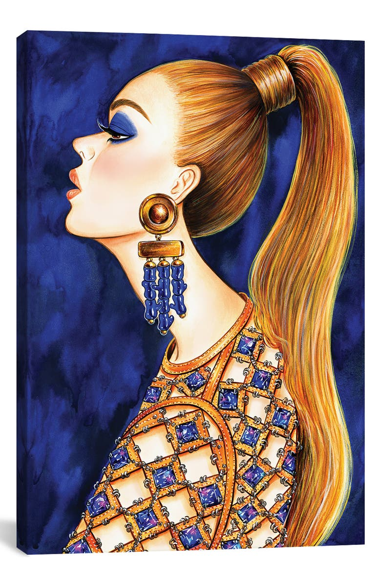 ICANVAS Power Ponytail by Sunny Gu Giclée Print Canvas Art, Main, color, BLUE