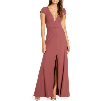 Jenny Yoo Cara Deep V-Neck Evening Dress, Pink