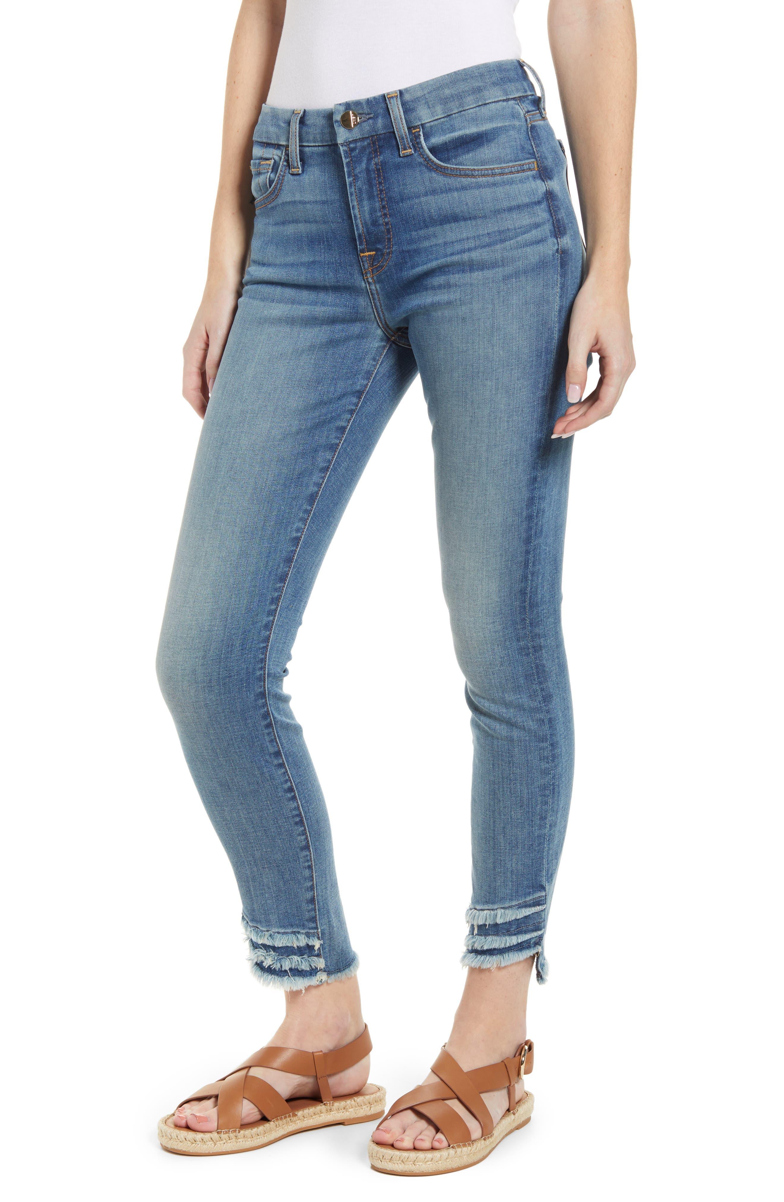 High Waist Fringe Hem Ankle Skinny Jeans