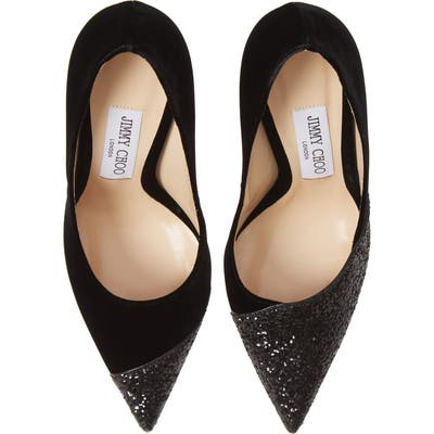Jimmy Choo Love Asymmetrical Cap Toe Pump, Black