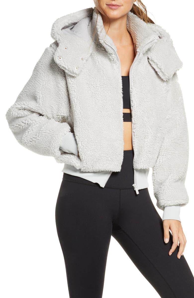 ALO Foxy Faux Fur Jacket, Main, color, DOVE GREY