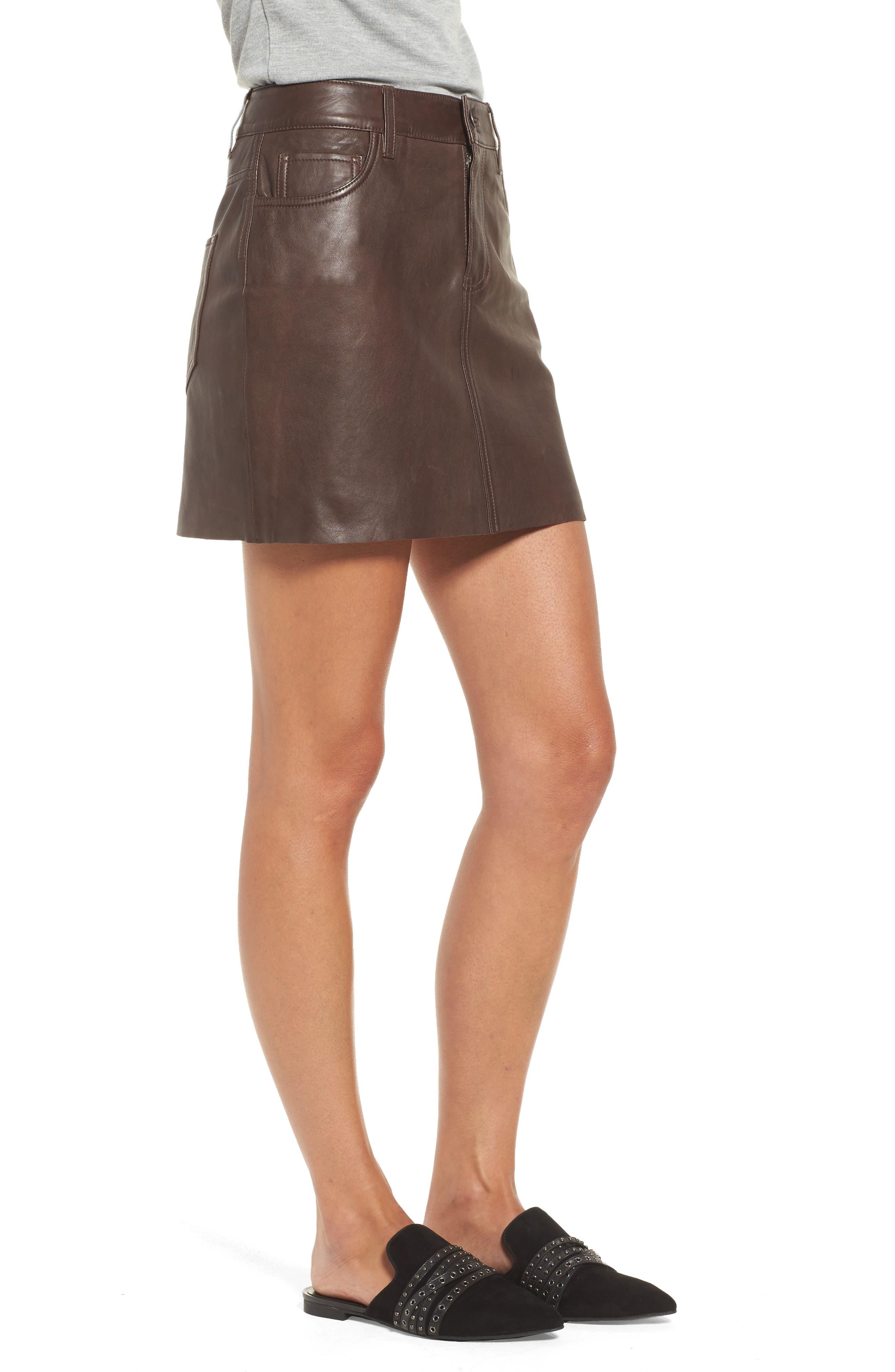 ,                             x Something Navy Leather Miniskirt,                             Alternate thumbnail 3, color,                             200