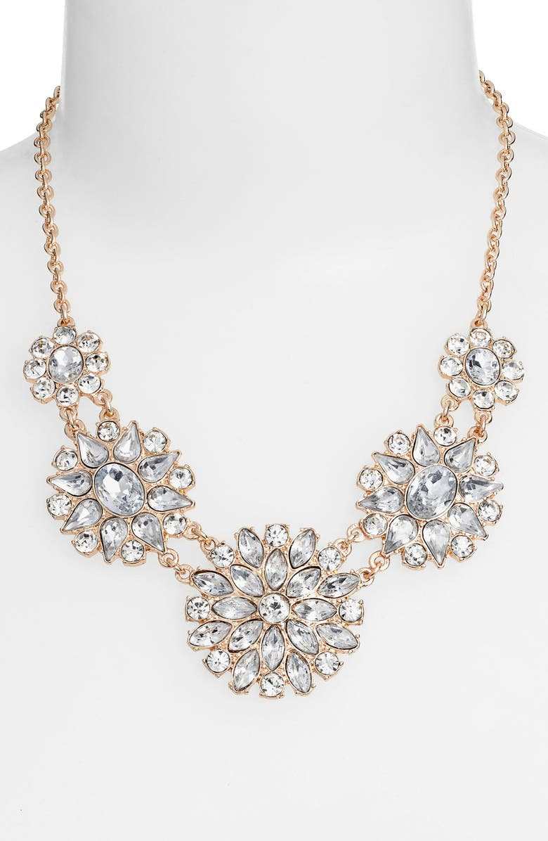 BP. Crystal Flower Statement Necklace, Main, color, 100