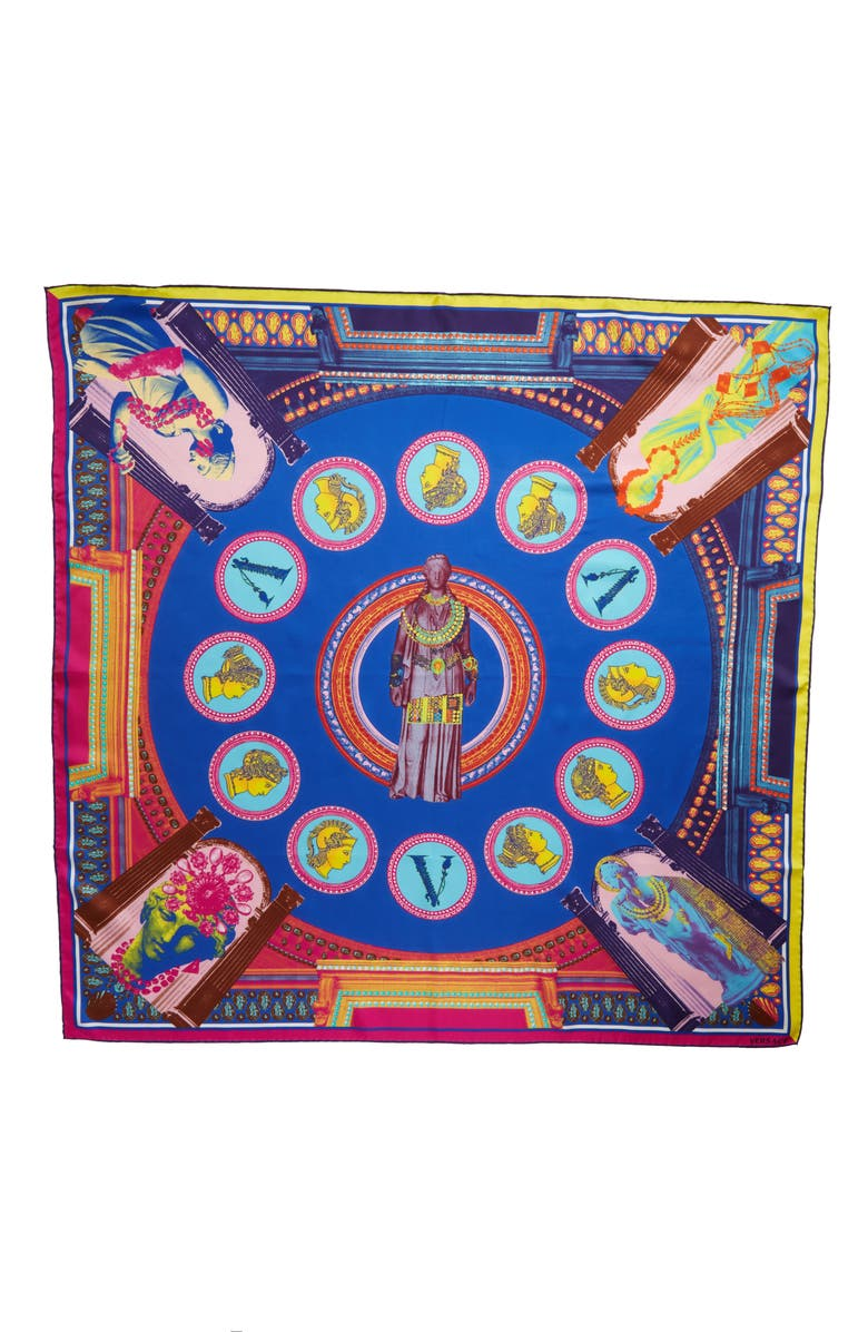 VERSACE FIRST LINE Blonde Art Silk Scarf, Main, color, BLUE FUXIA