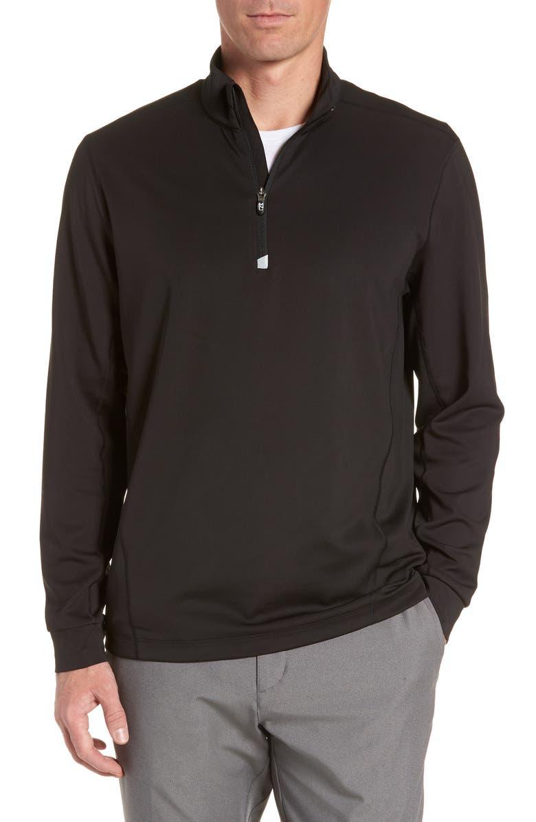 CUTTER & BUCK Traverse Regular Fit Quarter Zip Pullover, Main, color, BLACK
