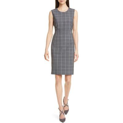 Boss Densina Wool Blend Sheath Dress, Grey