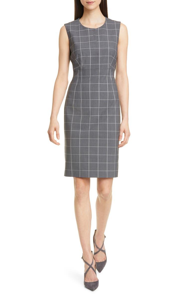 BOSS Densina Wool Blend Sheath Dress, Main, color, 020