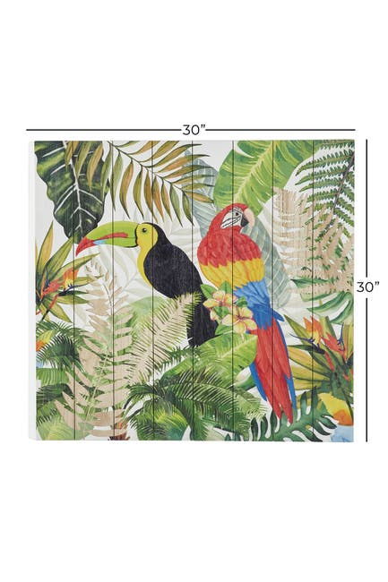 """Image of Willow Row Square Multi Colored Parrots In Botanical Garden Wood Wall Art - 30"""" x 30"""""""