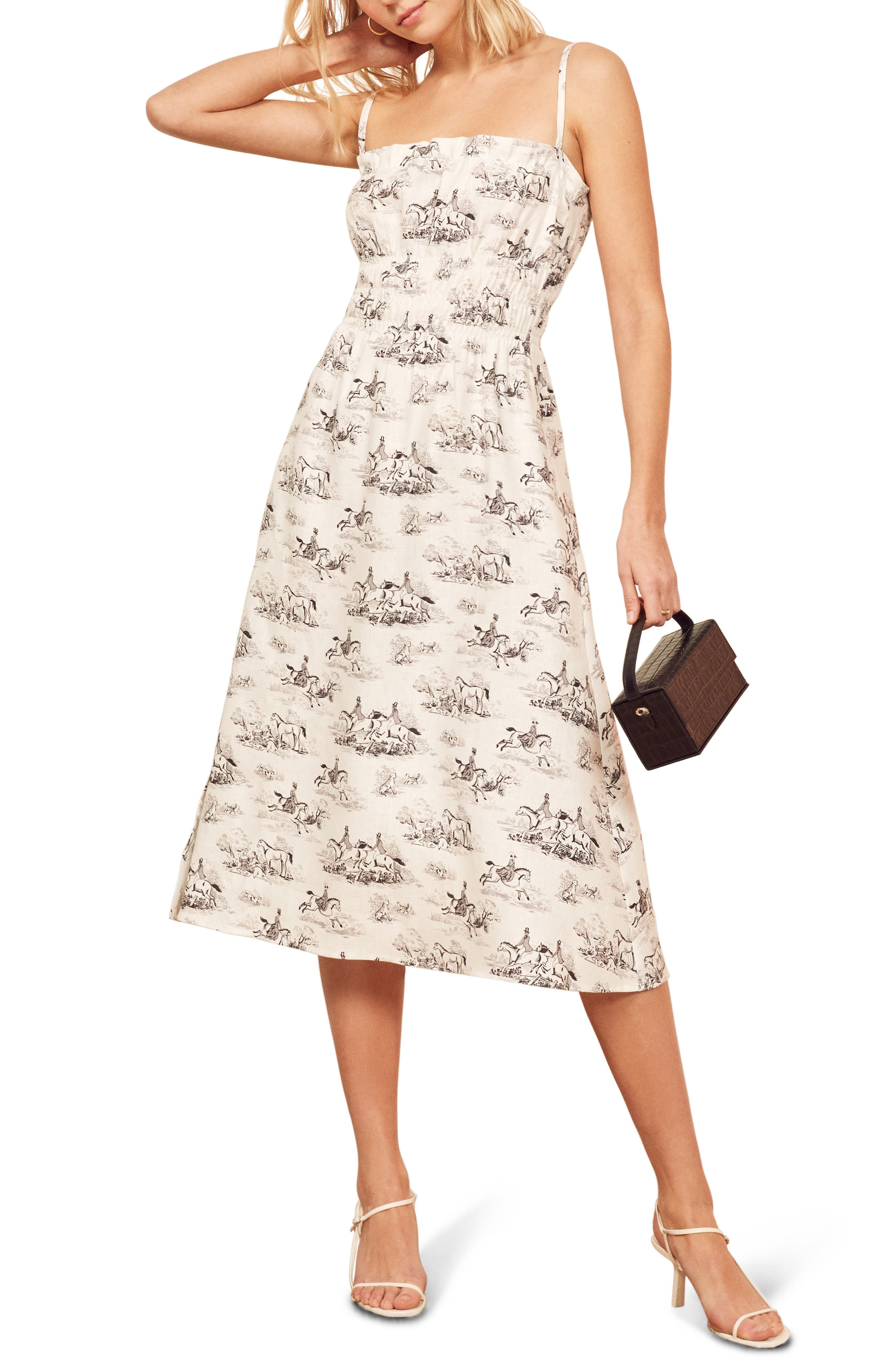 Reformation Faust A-Line Linen Dress, Ivory
