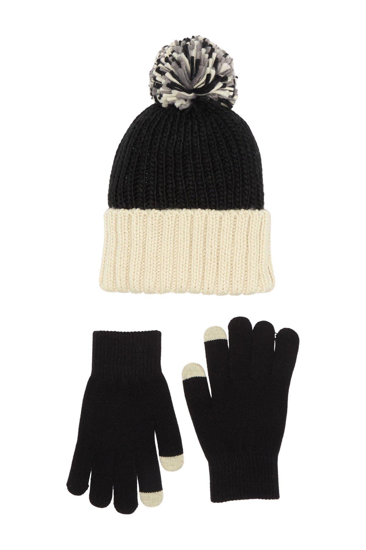 Image of Steve Madden Colorblock Pompom Ribbed Beanie & Knit Gloves 2-Piece Set