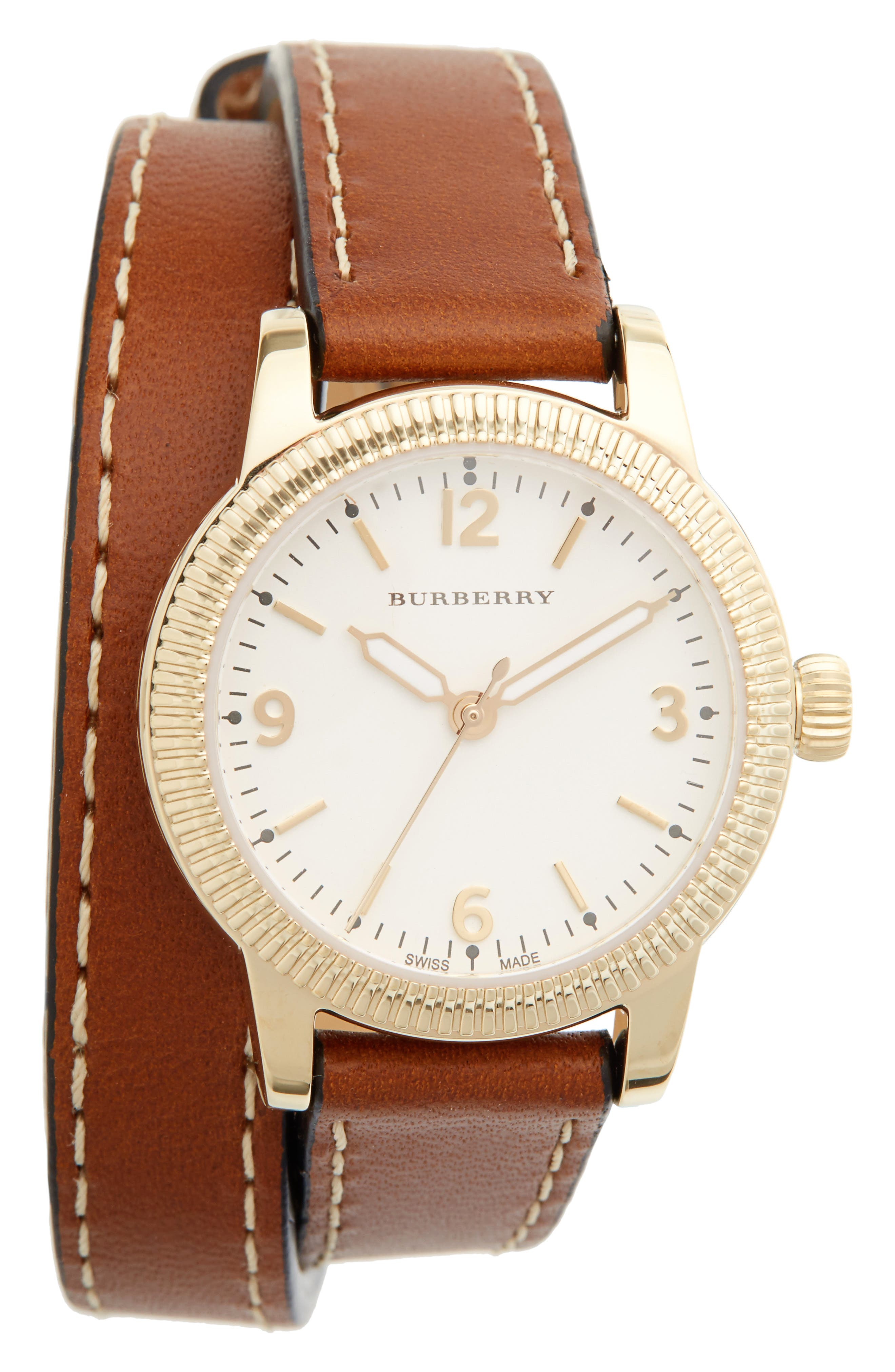 ,                             'Utilitarian' Round Leather Wrap Watch, 30mm,                             Main thumbnail 11, color,                             200