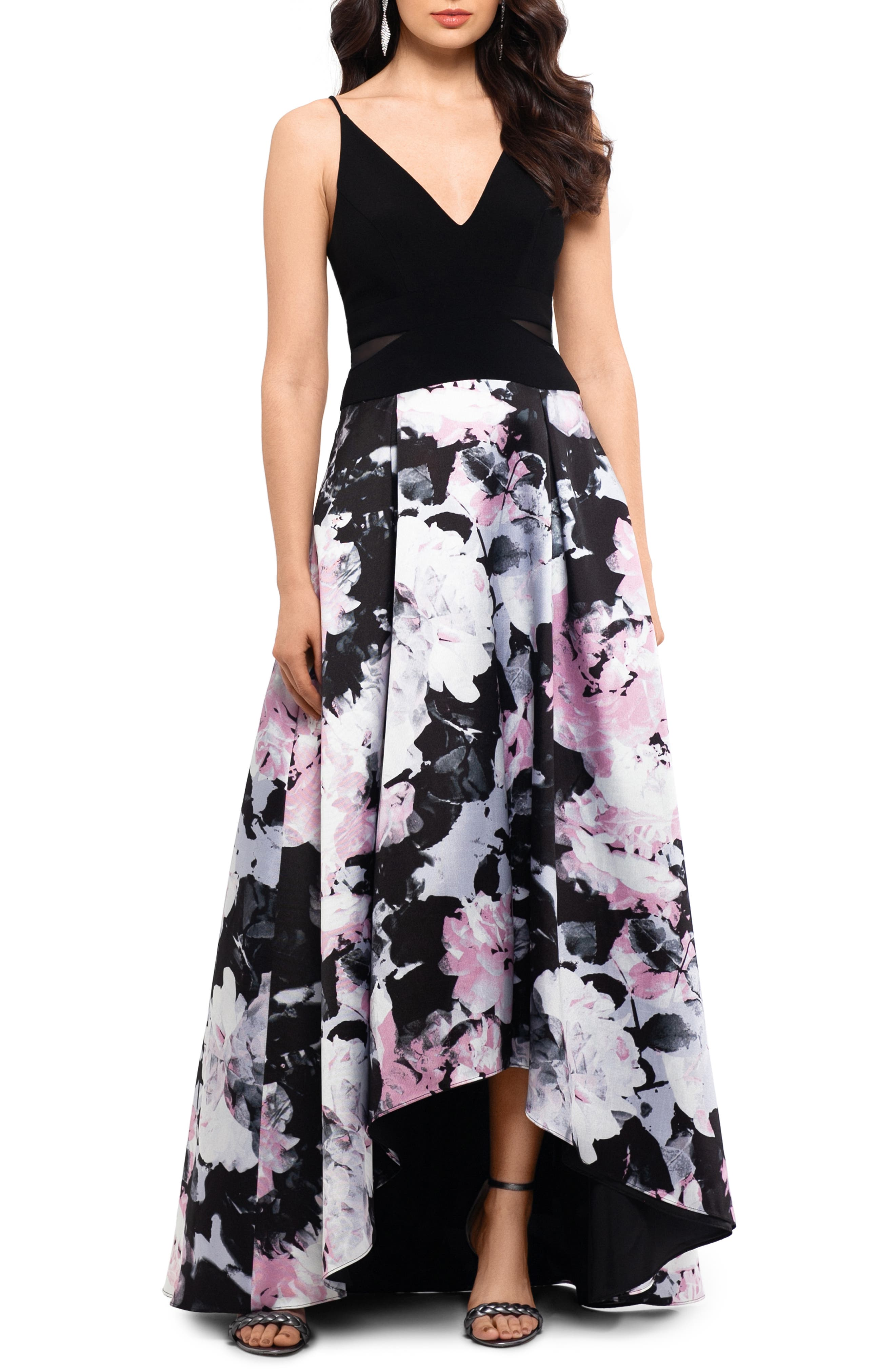 Xscape Floral High/low Evening Dress, Black