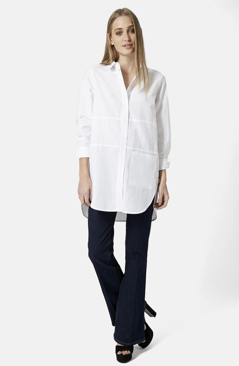 TOPSHOP Oversize Button Front Shirt, Main, color, 100