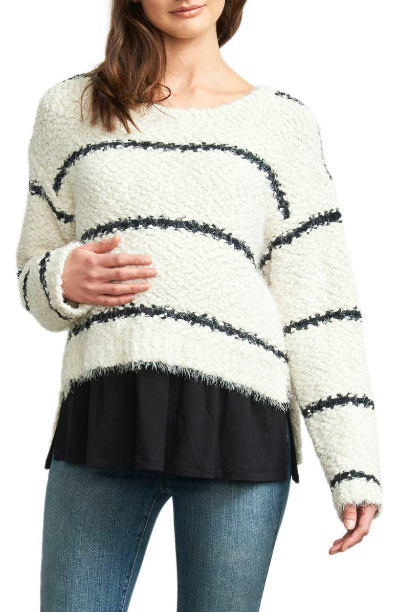 MATERNAL AMERICA High/Low Layered Maternity Sweater, Main, color, IVORY