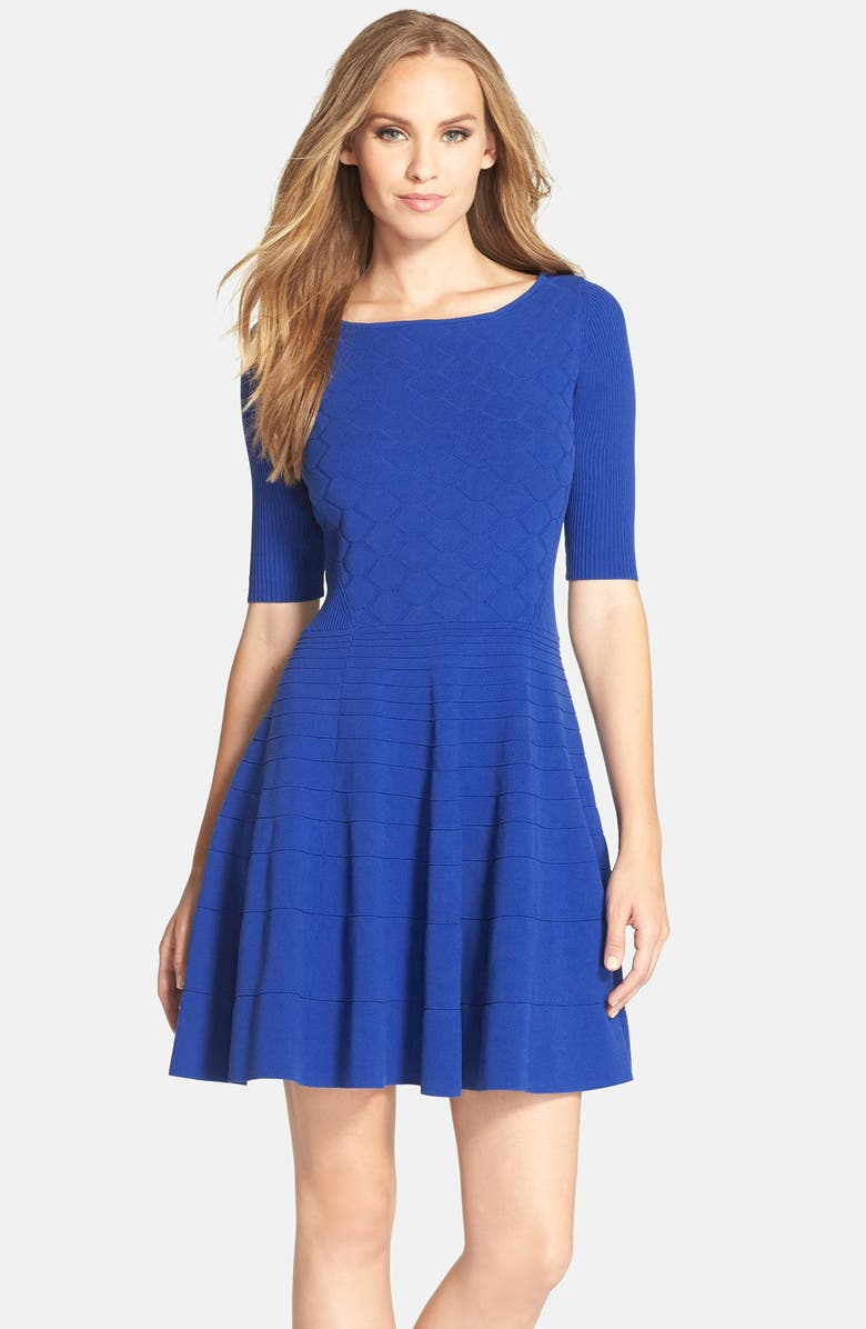 ELIZA J Fit & Flare Sweater Dress, Main, color, 430