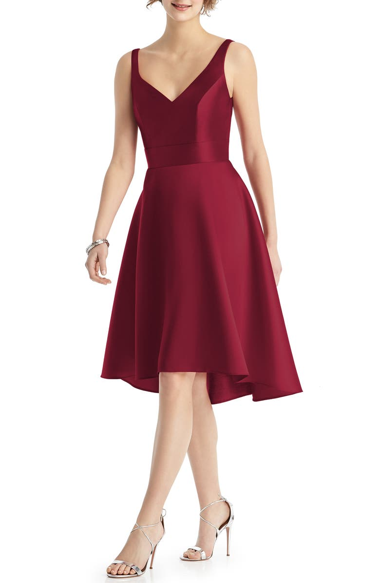 ALFRED SUNG Sweetheart Neck Cocktail Dress, Main, color, BURGUNDY
