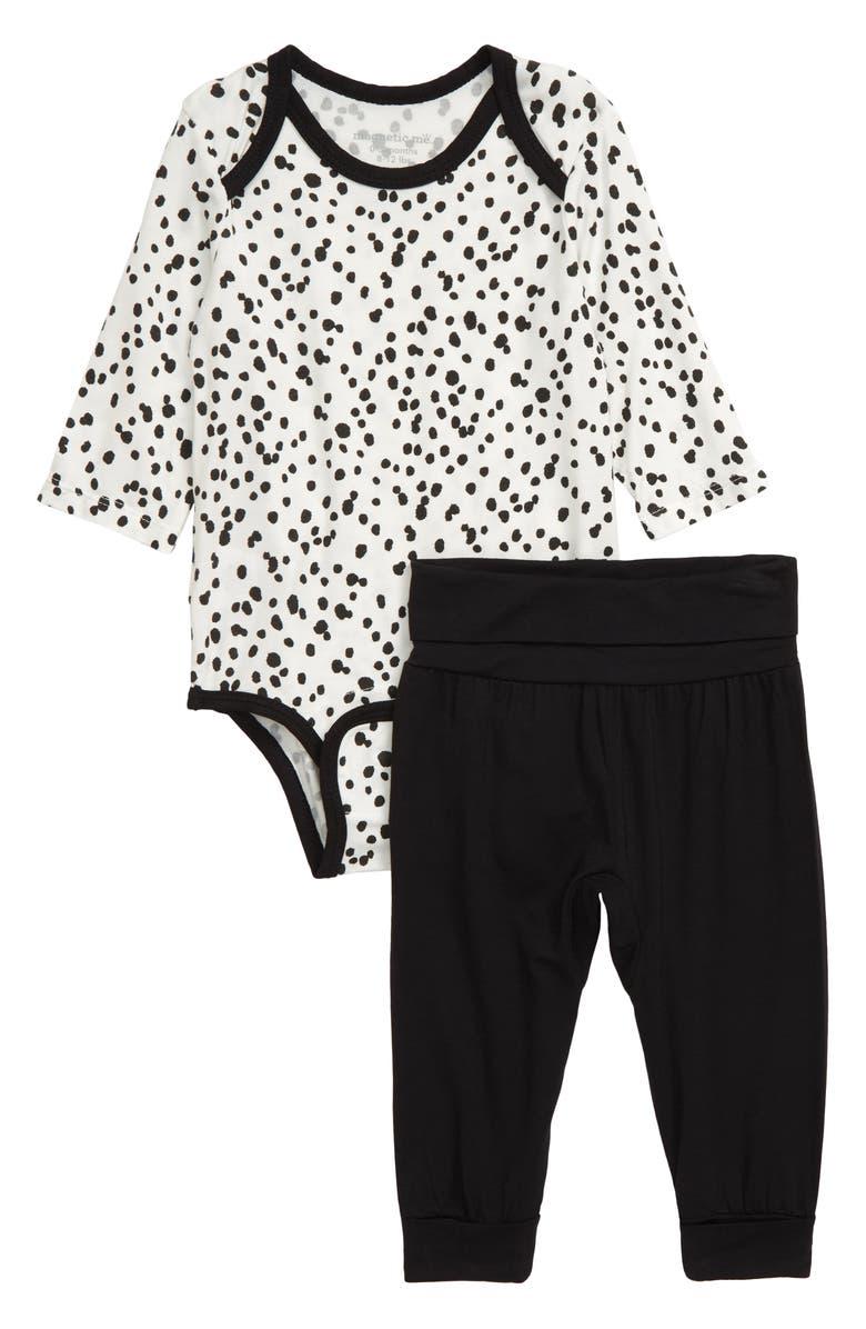 MAGNETIC ME Seeing Spots Bodysuit & Pants Set, Main, color, BLACK