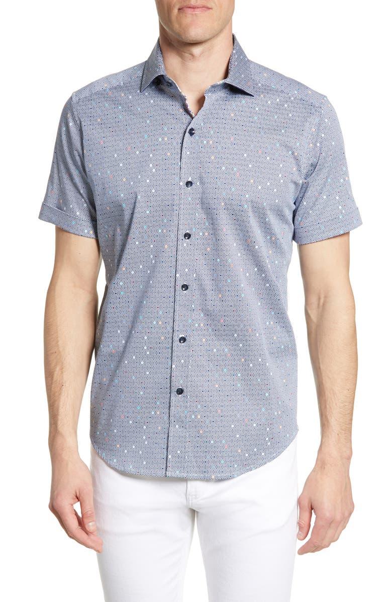 ROBERT GRAHAM Tailored Fit Hexagon Print Shirt, Main, color, 460