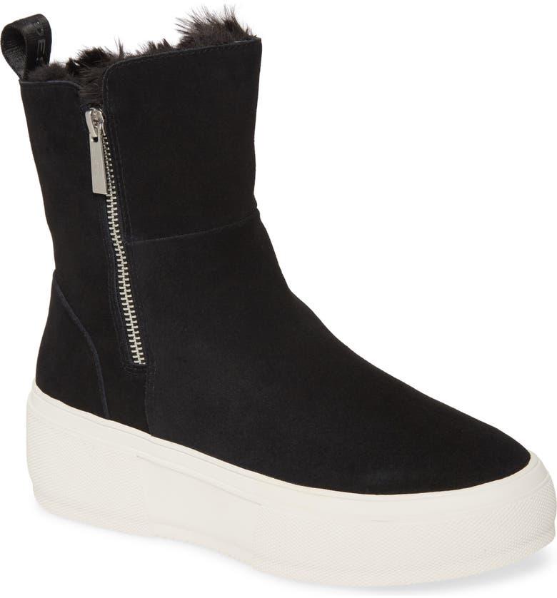 JSLIDES Carole Platform High Top Sneaker, Main, color, BLACK SUEDE