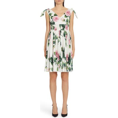Dolce & gabbana Rose Print Tie Strap A-Line Dress, US / 40 IT - White