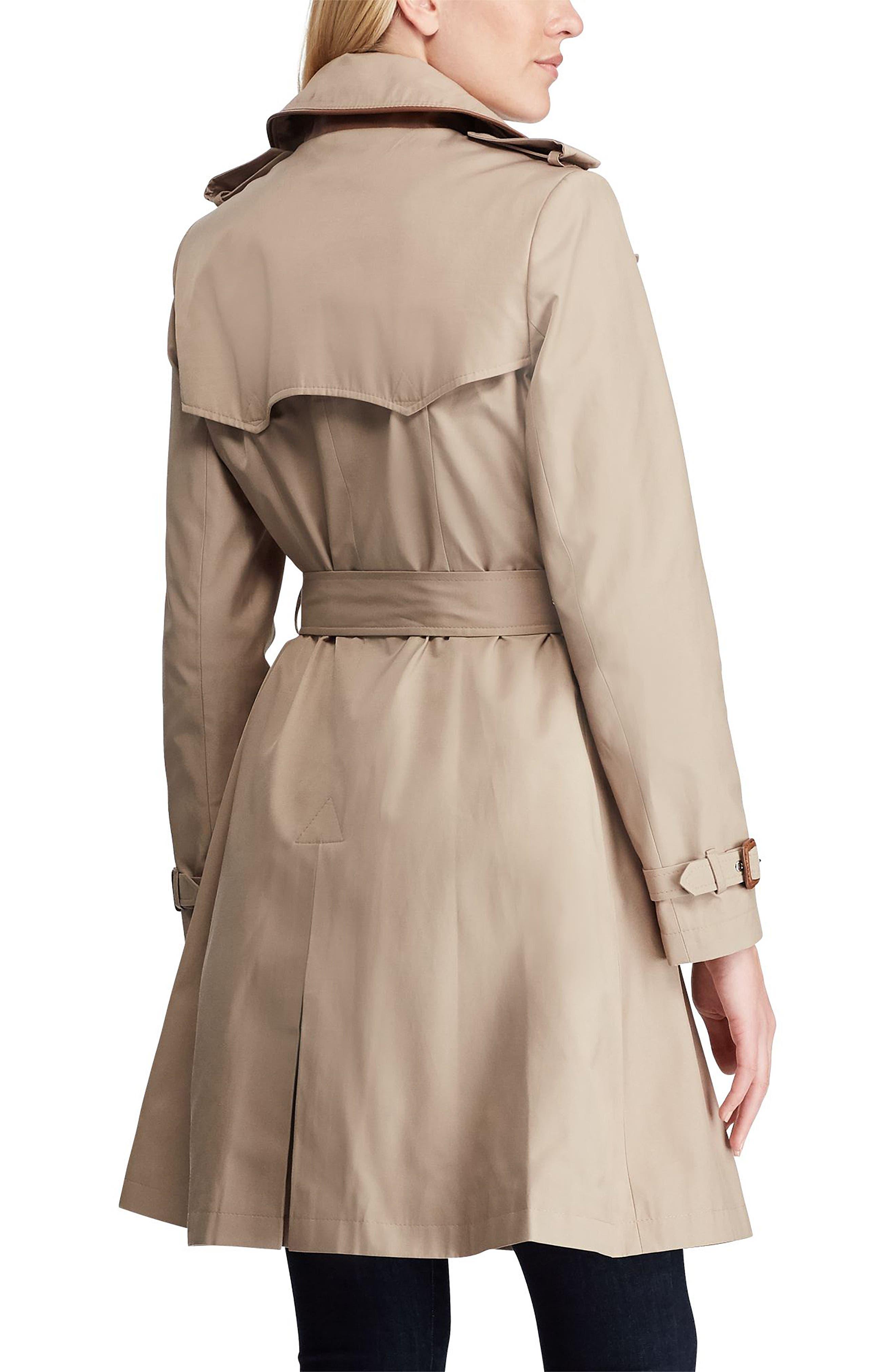 ,                             Faux Leather Trim Trench Coat,                             Alternate thumbnail 8, color,                             275