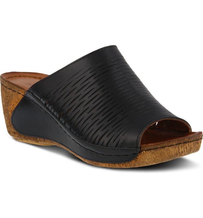 SPRING STEP Cunacena Slide Sandal, Main, color, BLACK LEATHER