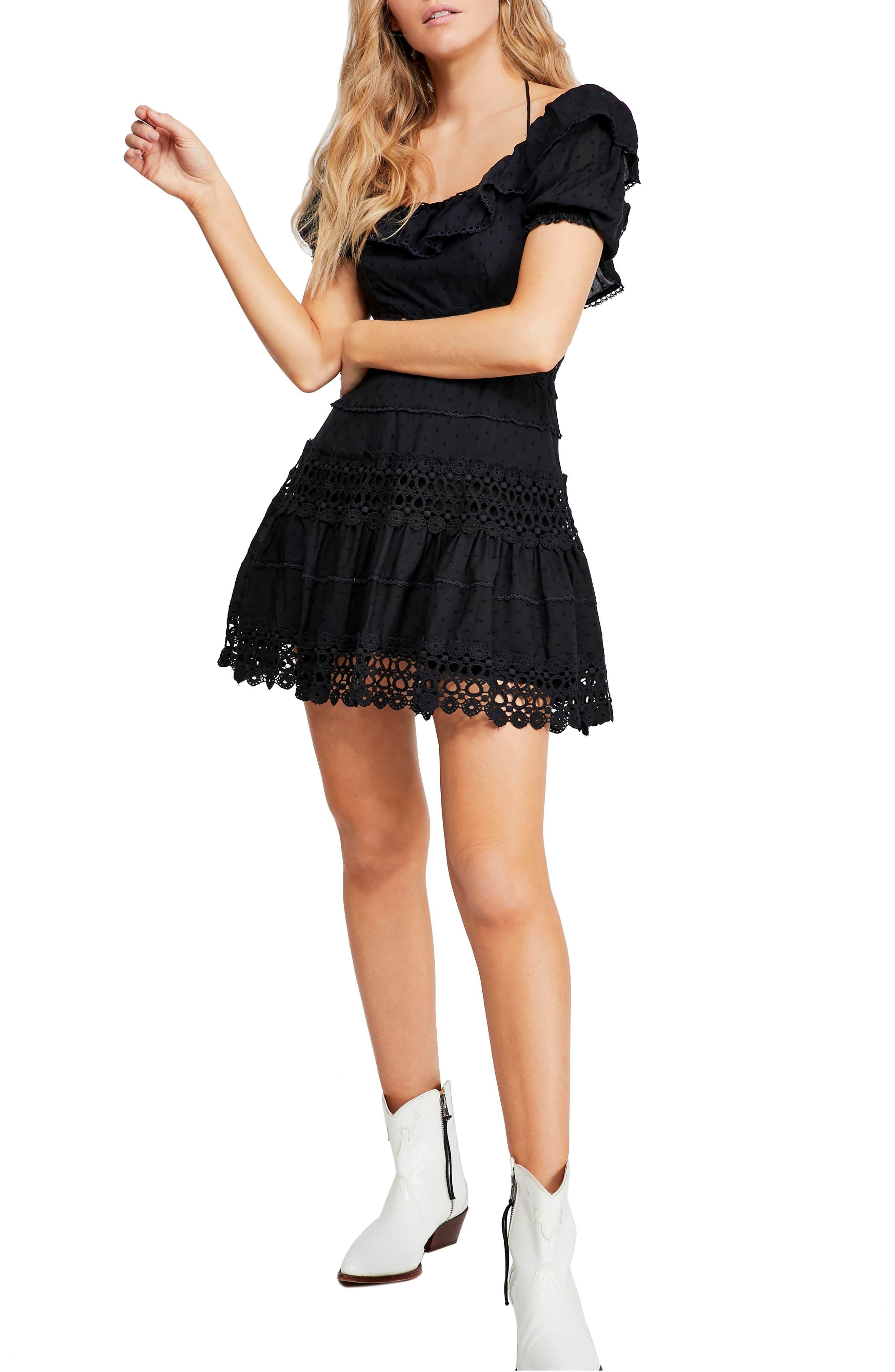 Free People Lace Minidress, Black