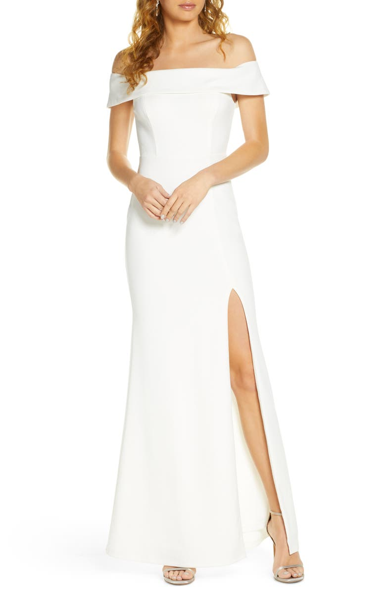 LULUS Off the Shoulder Mermaid Gown, Main, color, WHITE