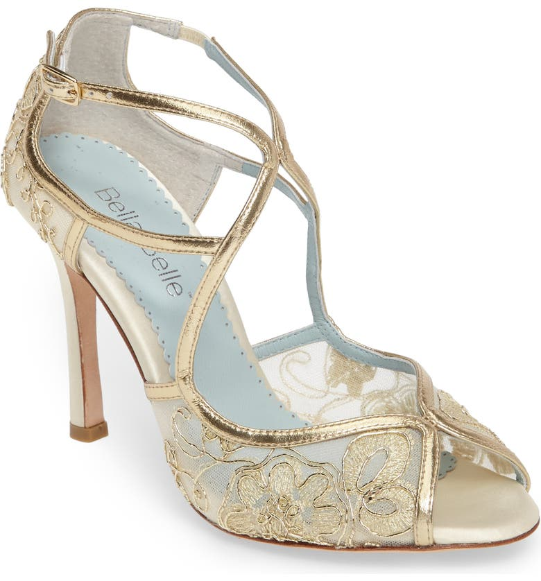 BELLA BELLE Tess Peep Toe Sandal, Main, color, GOLD LEATHER