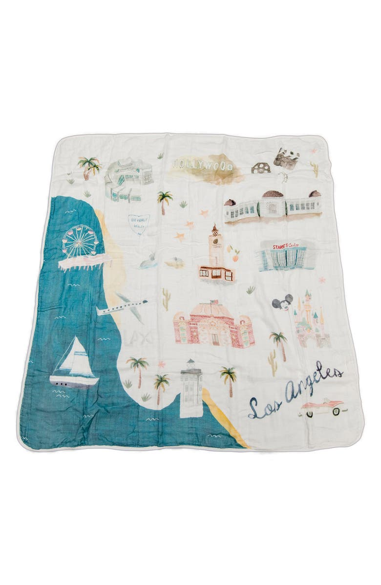 LOULOU LOLLIPOP Los Angeles Deluxe Muslin Swaddle Blanket, Main, color, LOS ANGELES