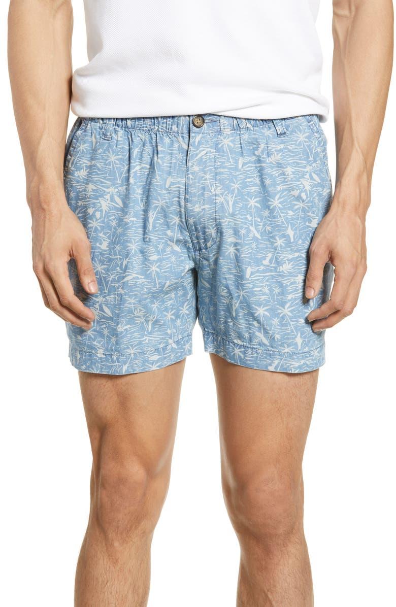 VINTAGE 1946 Snappers Tropical Print Shorts, Main, color, INDIGO