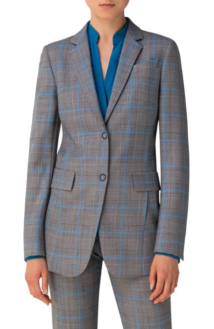 Image of Akris punto Long Plaid Blazer