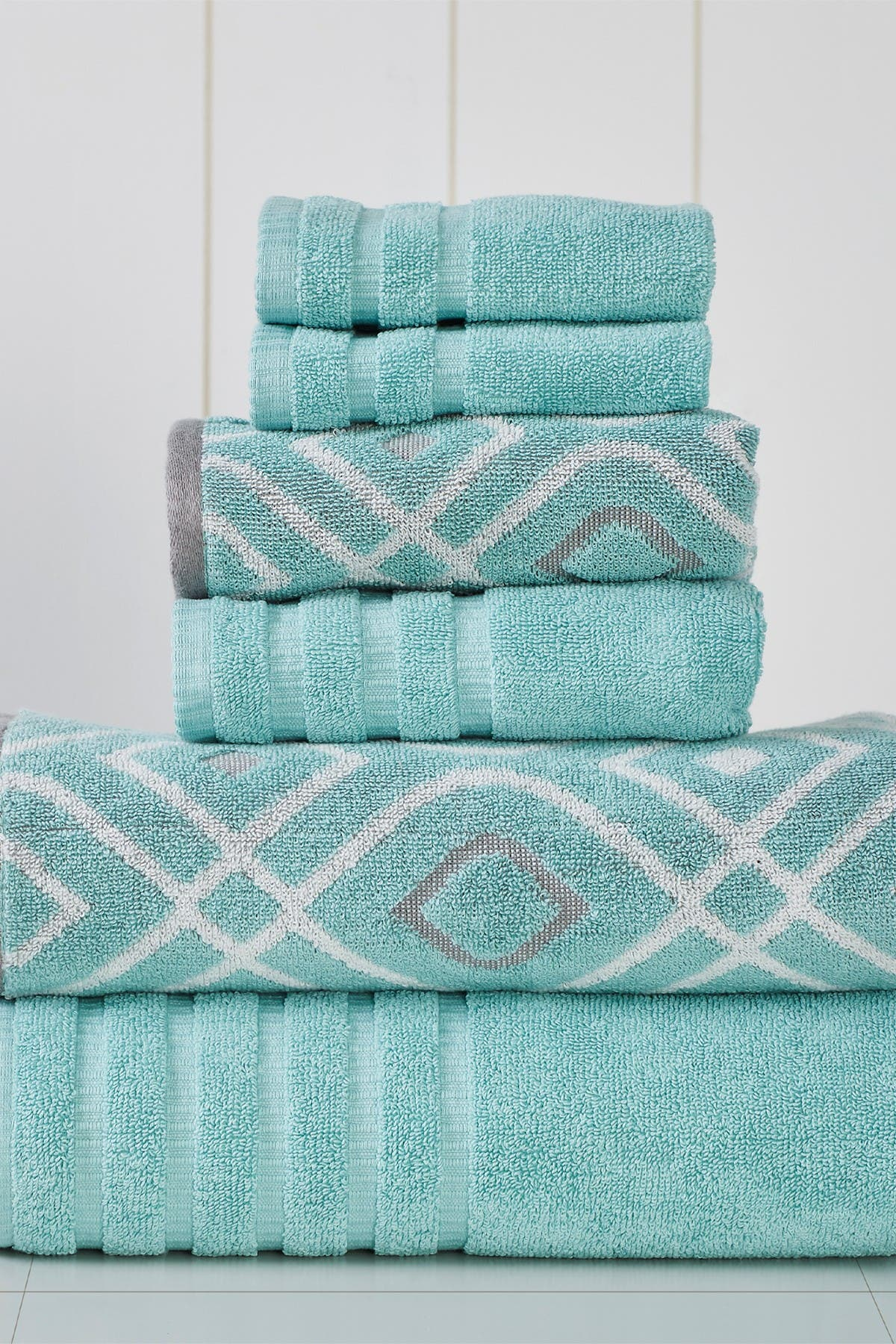 Image of Modern Threads Yard Dyed Towel 6-Piece Set - Oxford Aqua