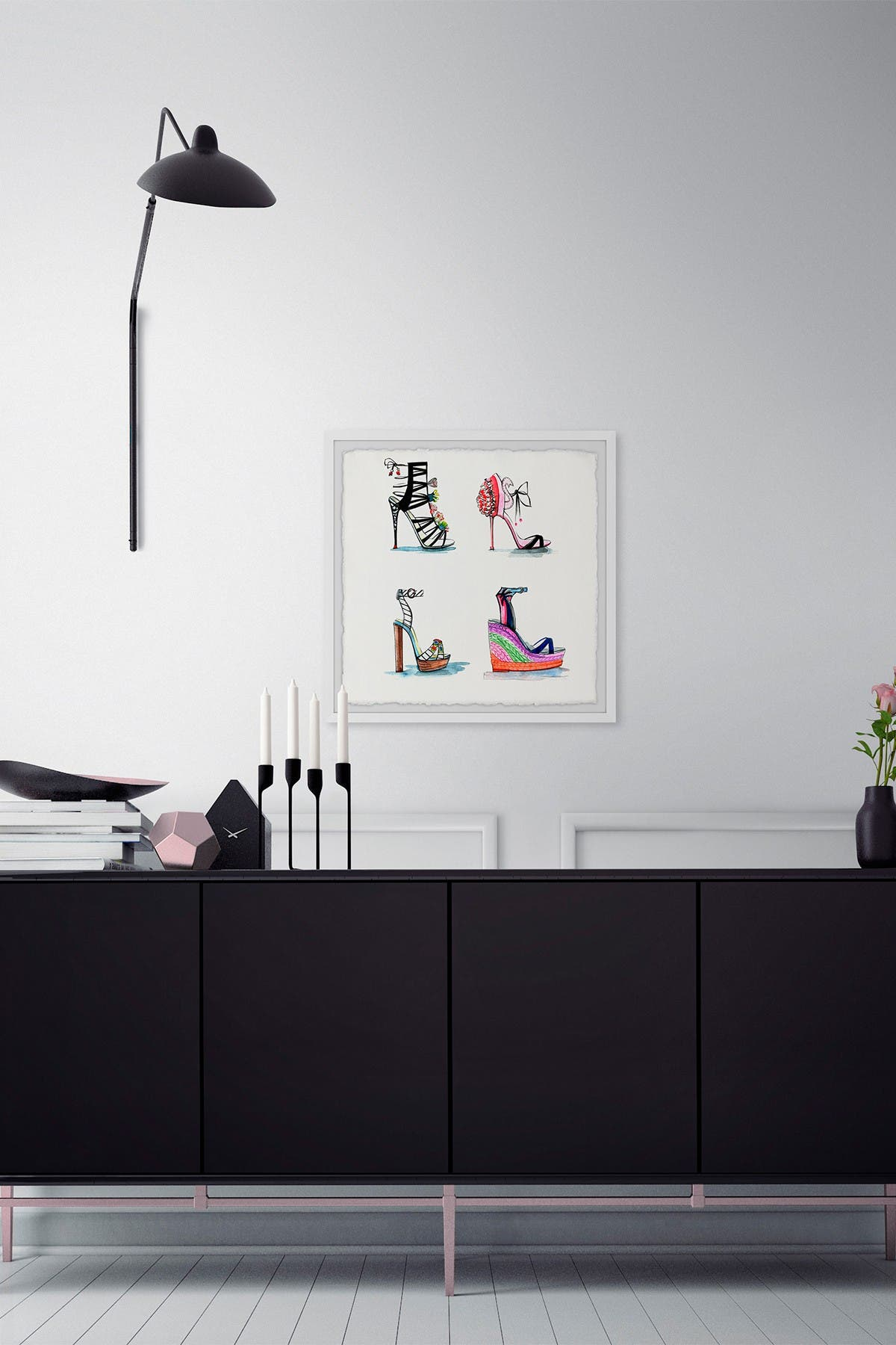 """Image of Marmont Hill Inc. High Heels and Wedges Framed Painting Print - 12""""x12"""""""