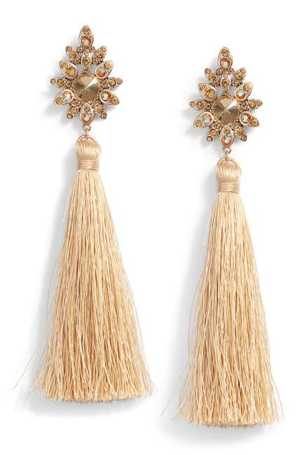 Image of TASHA Beaded Post Tassel Drop Earrings