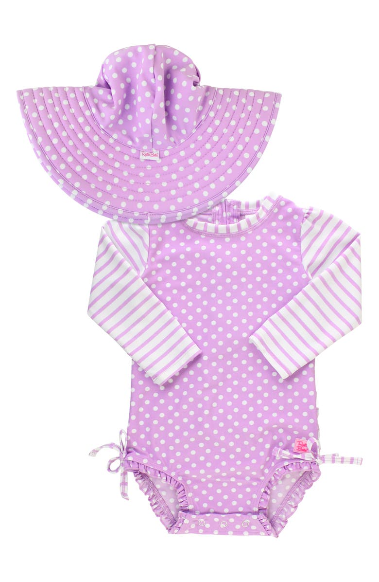 RUFFLEBUTTS Polka Dot One-Piece Rashguard Swimsuit & Sun Hat Set, Main, color, LILAC
