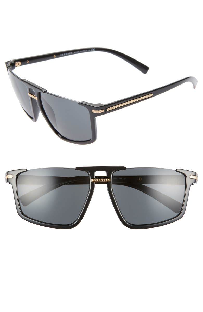 VERSACE 60mm Flat Top Sunglasses, Main, color, 001