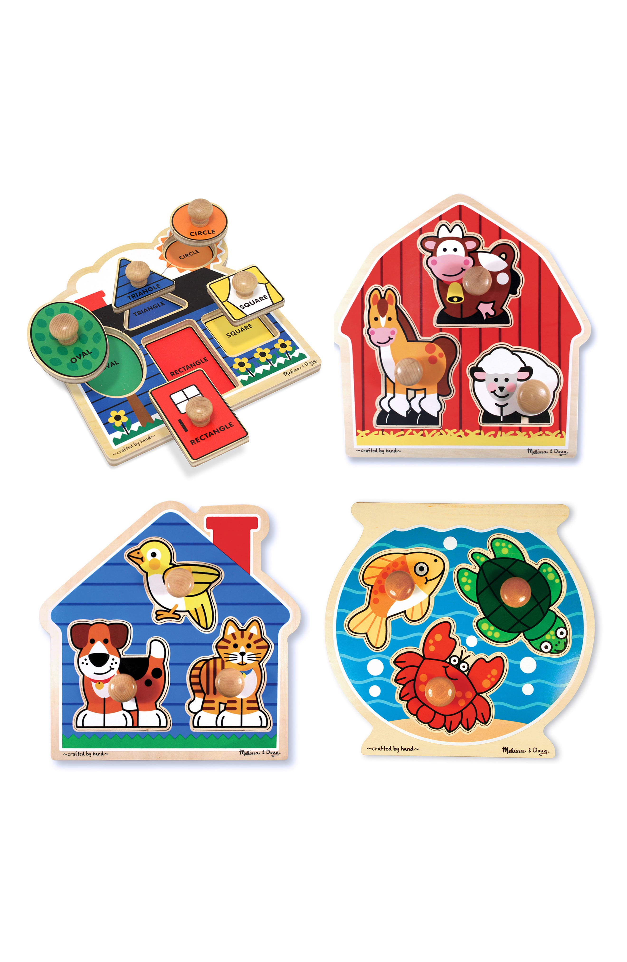 Toddler Melissa  Doug Set Of 4 Jumbo Knob Puzzles