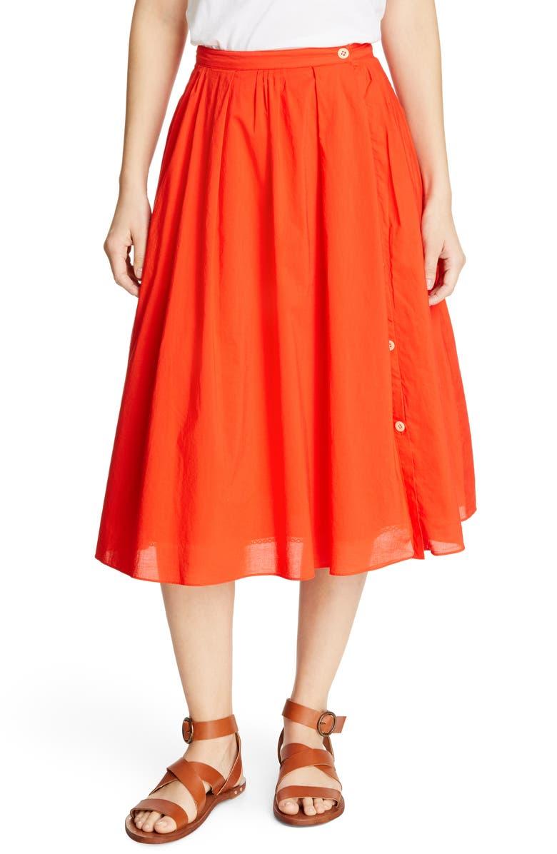 ALEX MILL Cotton Midi Skirt, Main, color, TOMATO