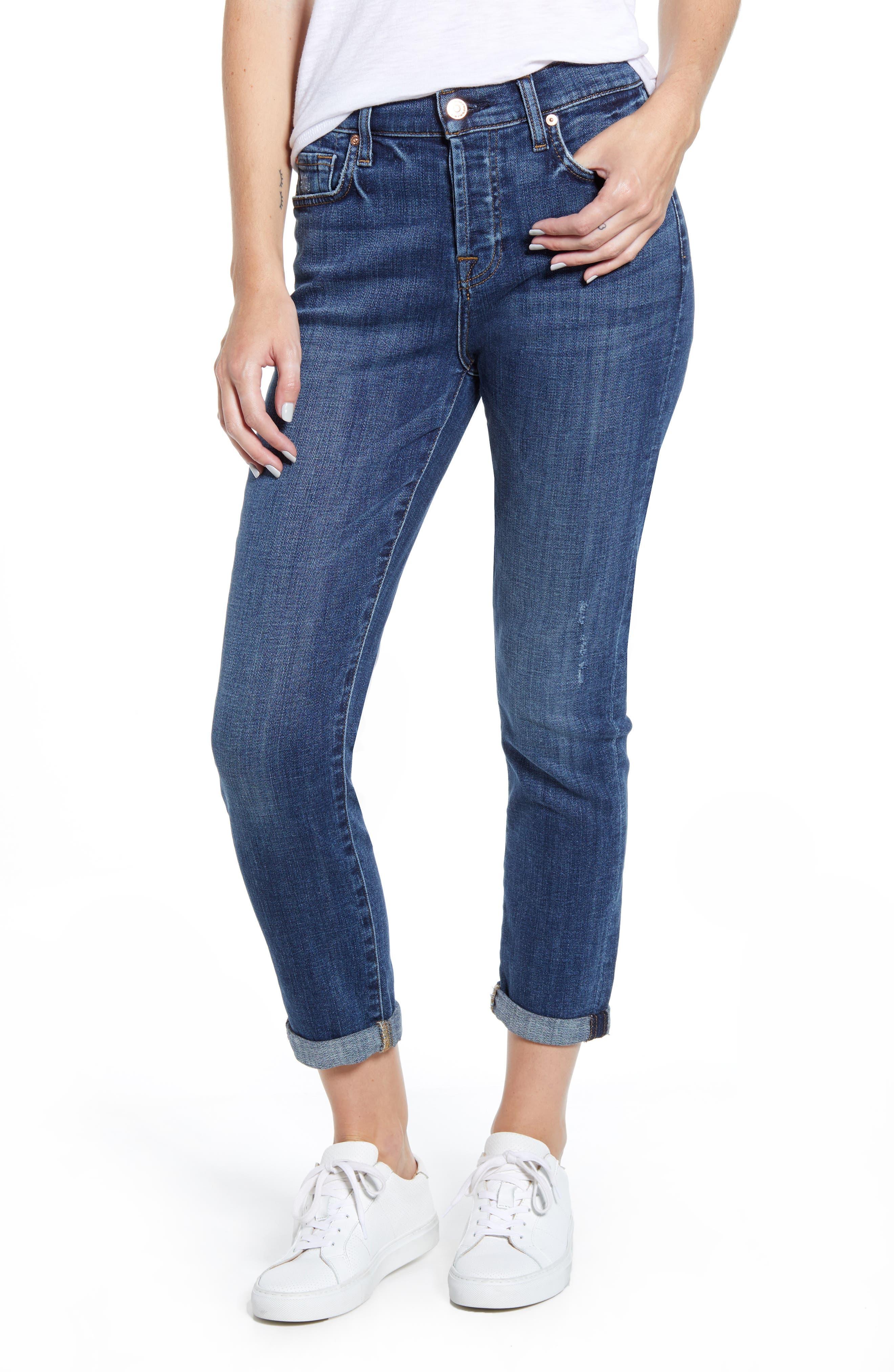 7 For All Mankind® Josefina High Waist Ankle Boyfriend Jeans (Broken Twill Plaza)