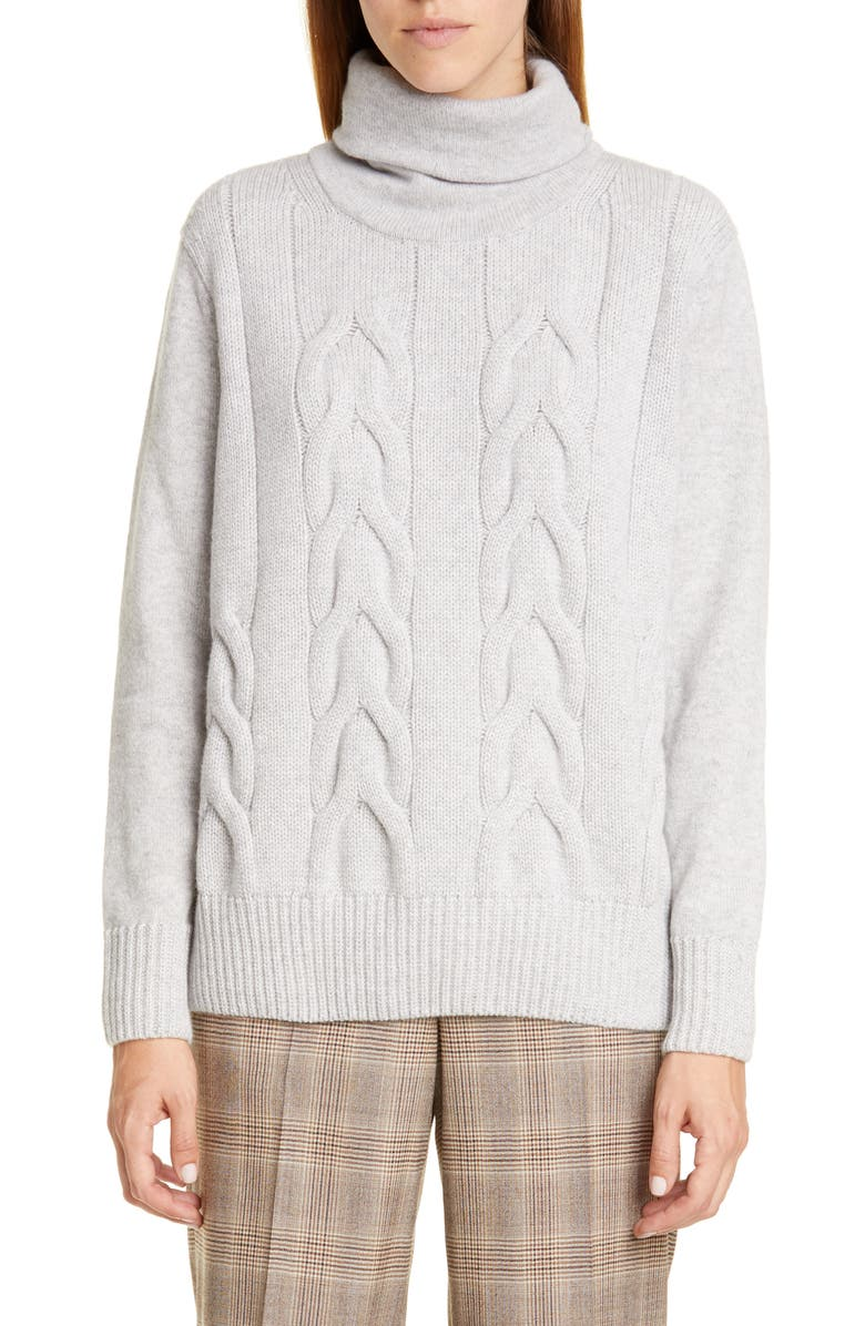 LAFAYETTE 148 NEW YORK Cable Knit Cashmere Sweater, Main, color, GREY HEATHER