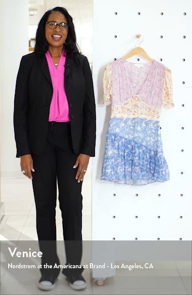 Bea Colorblock Ditsy Silk Minidress, sales video thumbnail