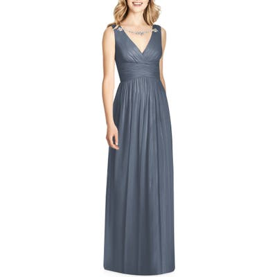 Jenny Packham Sleeveless Sparkle Neck Chiffon Gown, Grey