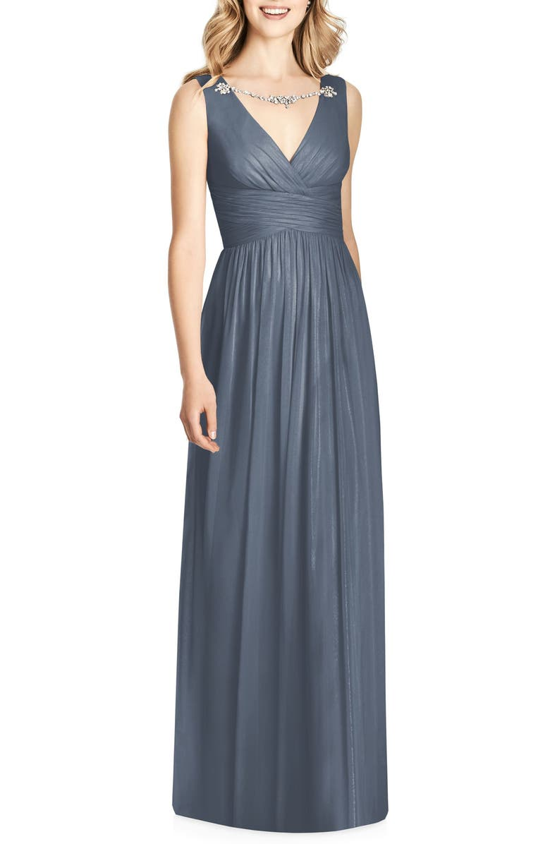 JENNY PACKHAM Crystal Appliqué Chiffon A-Line Gown, Main, color, SILVERSTONE