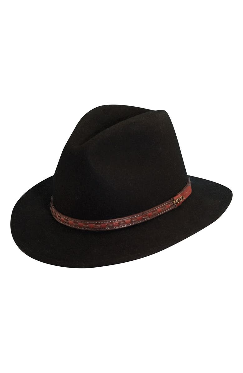 SCALA 'Classico' Crushable Felt Safari Hat, Main, color, BLACK