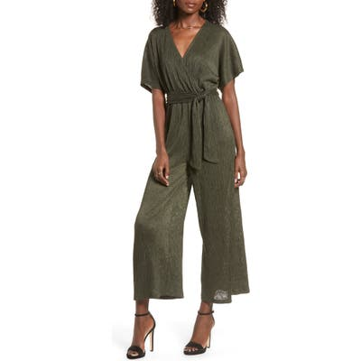 All In Favor Wrap Front Dolman Sleeve Jumpsuit, Green