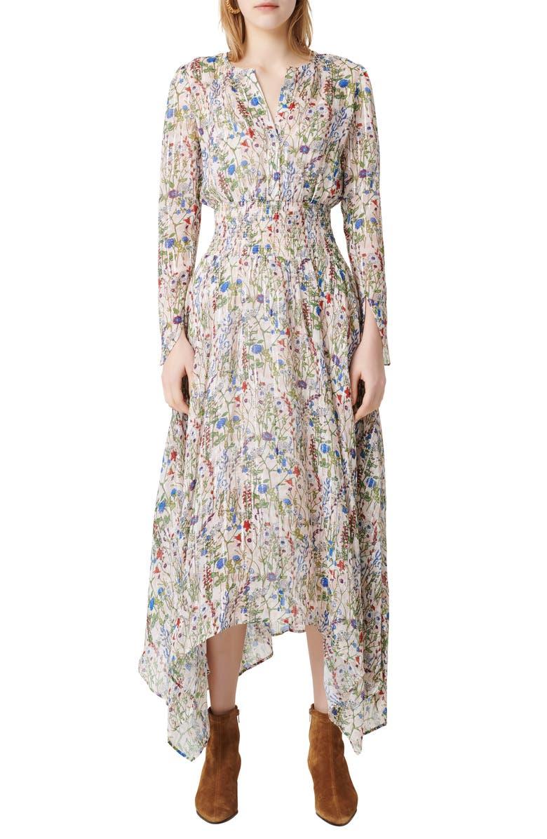 MAJE Floral Long Sleeve Dress, Main, color, 300