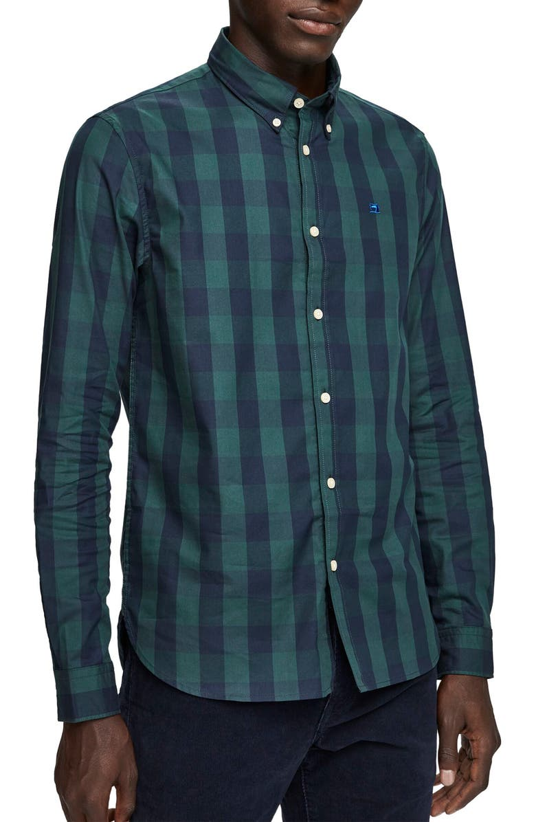 SCOTCH & SODA Slim Fit Check Button-Down Shirt, Main, color, 026